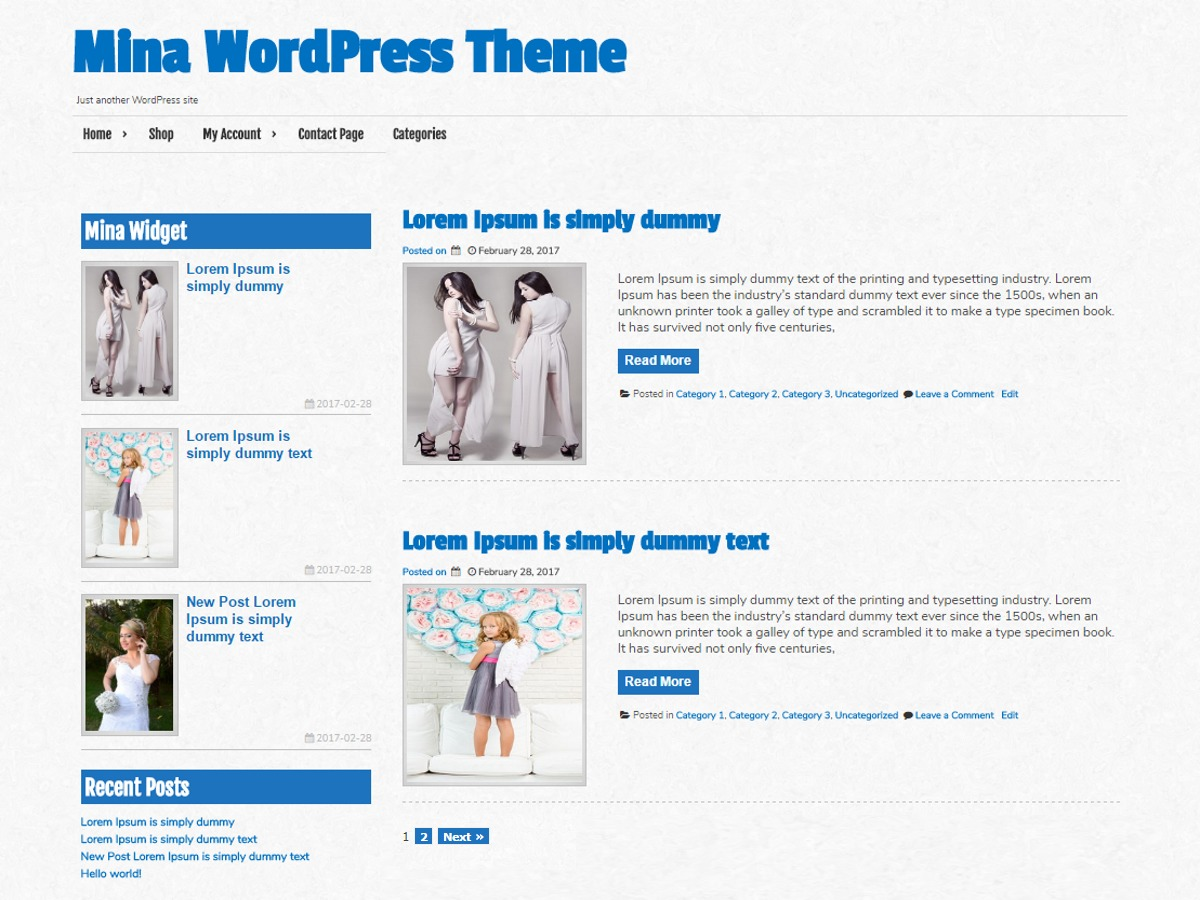 Mina free WordPress theme