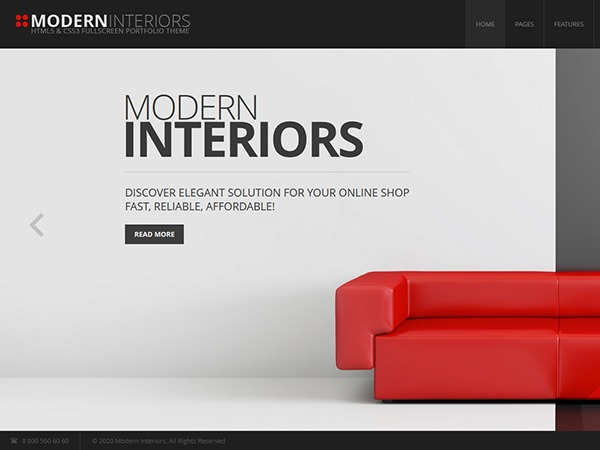 Modern Interior WordPress page template