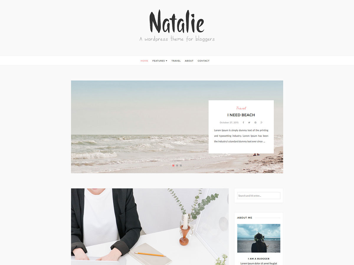 Natalie Child WordPress blog template