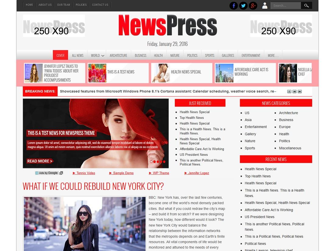 NewsPress Extend WordPress news theme