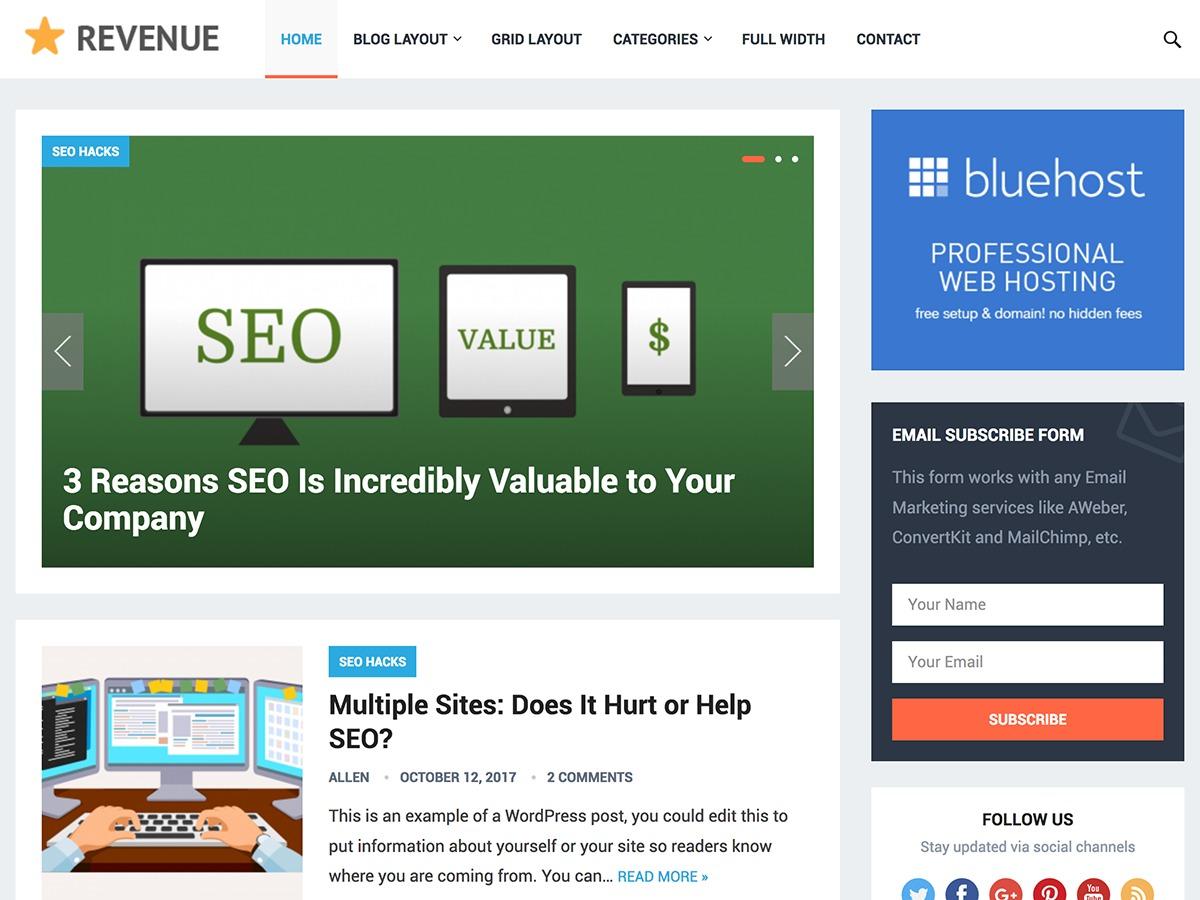 Revenue WordPress blog theme