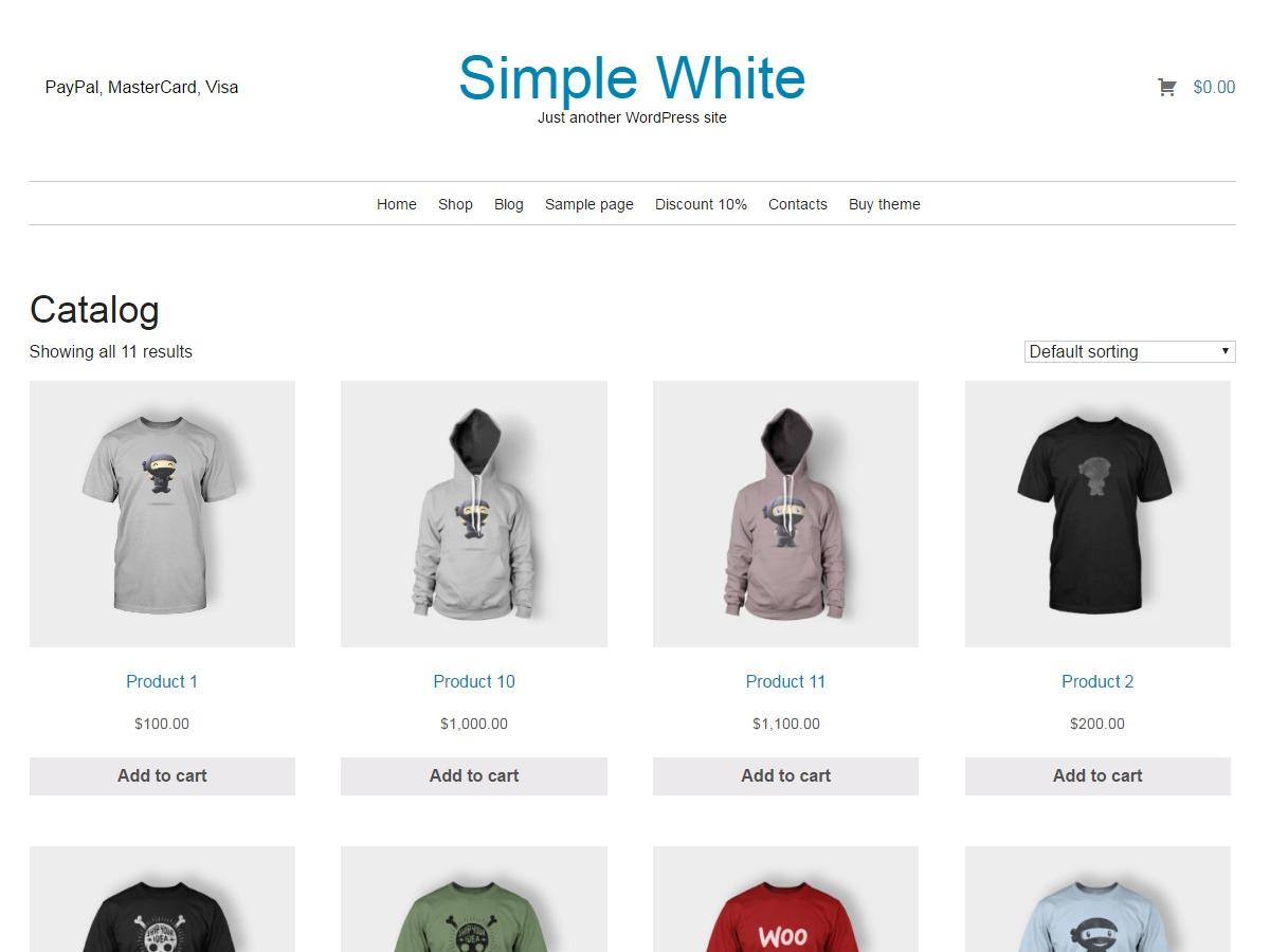 Simple White lite template WordPress free