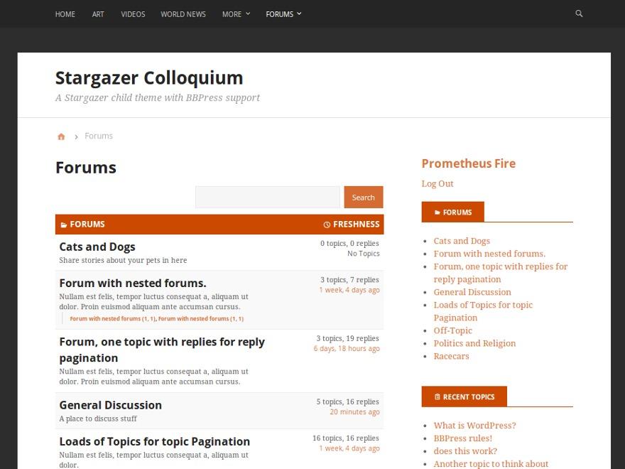 Stargazer Colloquium WordPress page template