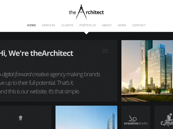 The Architect theme WordPress portfolio