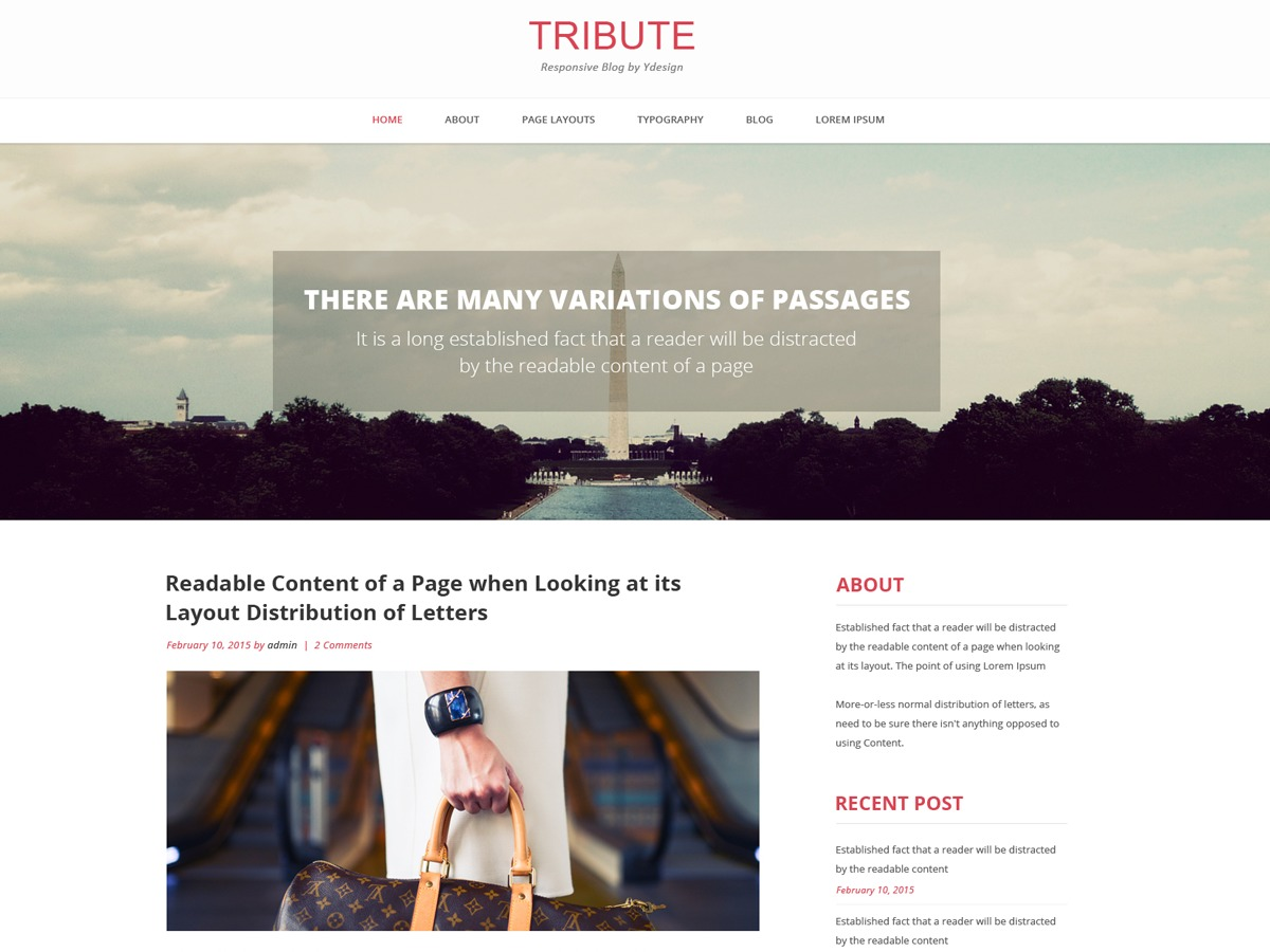 Tribute free WP theme