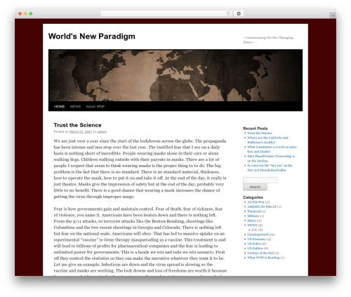 Twenty Ten free WordPress theme - worldsnewparadigm.com