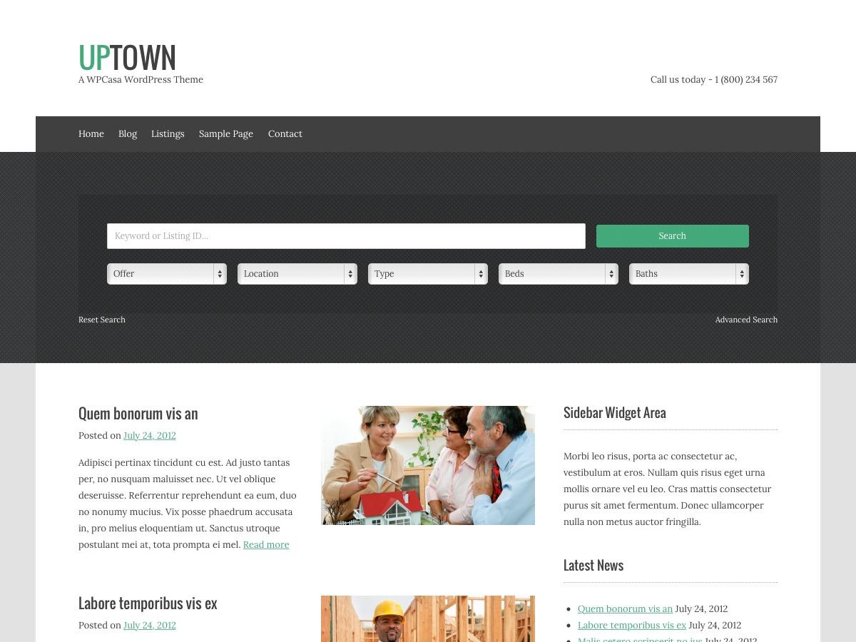 upTown WordPress blog theme