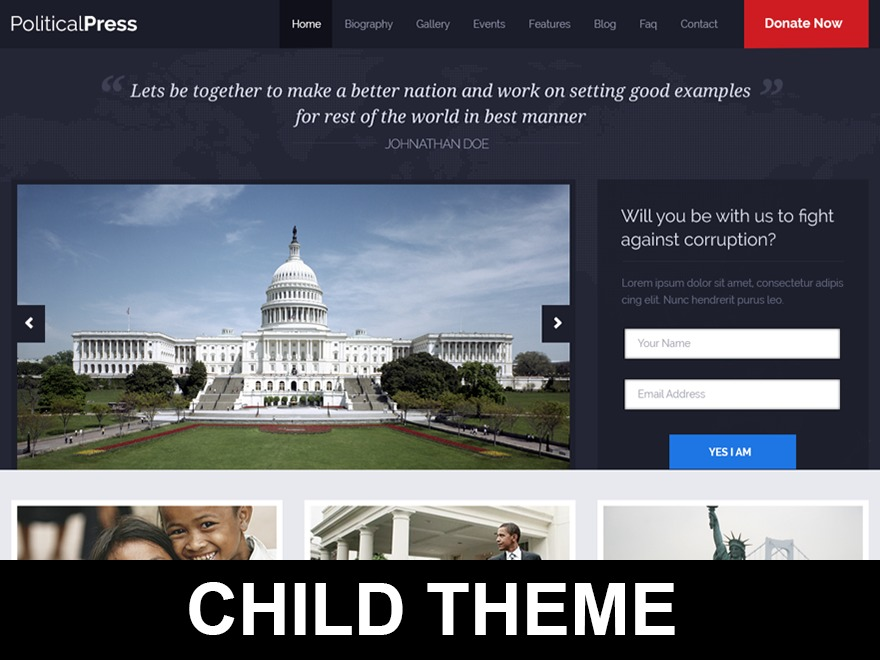 WordPress website template PoliticalPress Child Theme