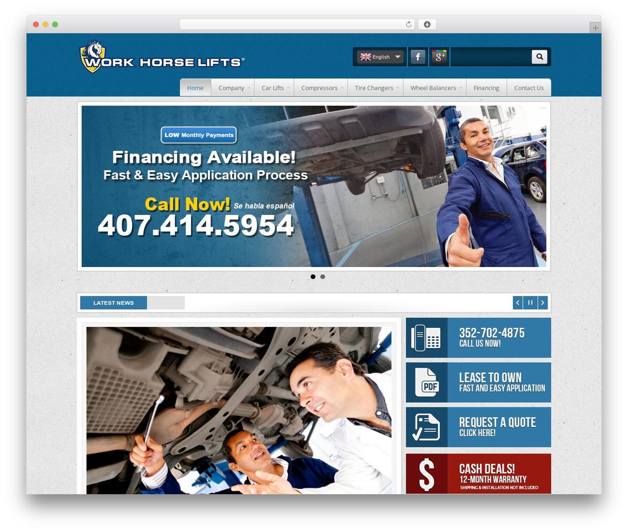WordPress website template Work Horse Lifts - workhorselifts.com
