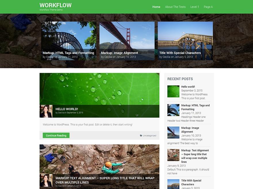 Workflow WordPress blog template