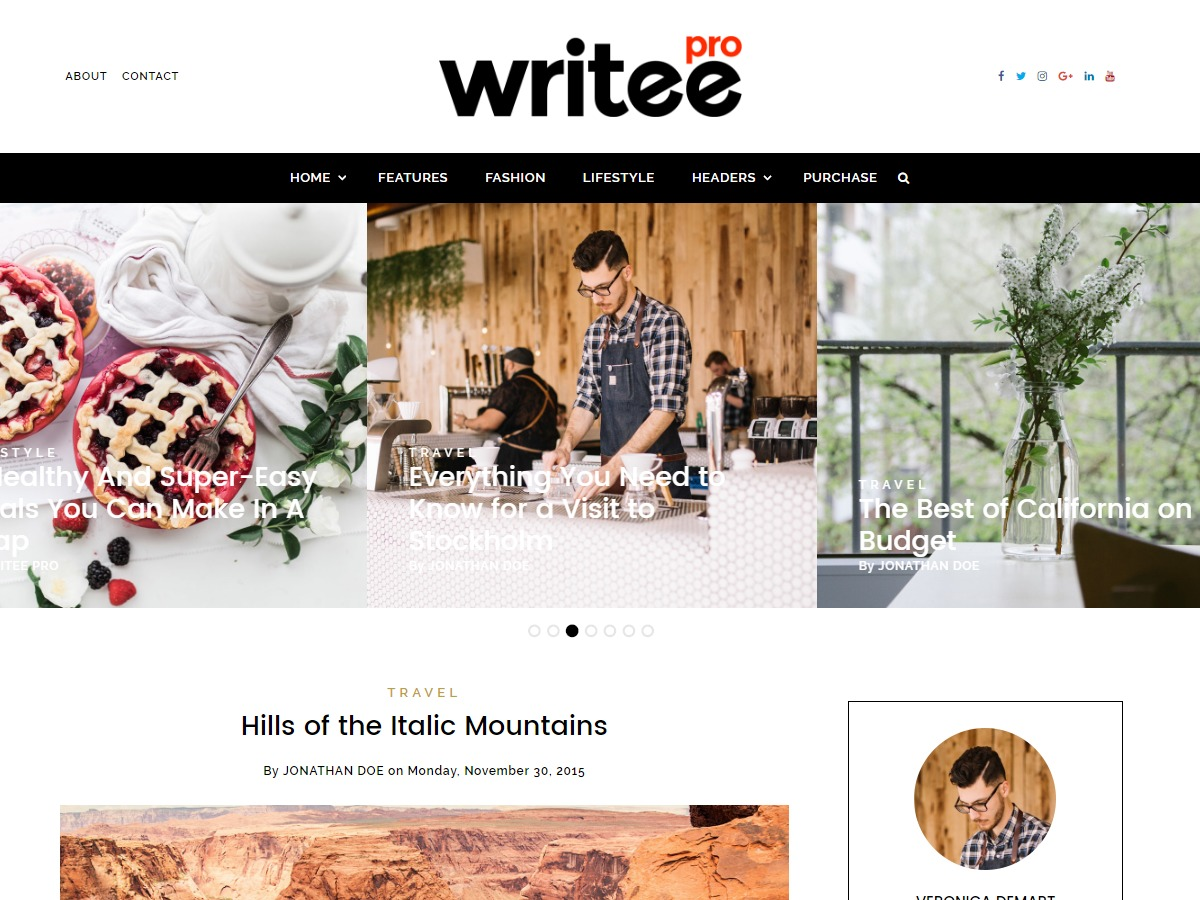 Writee Pro WordPress blog theme