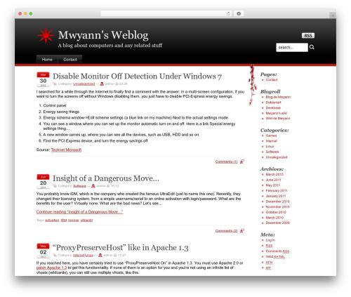 Stardust WordPress blog template - mwyann.us
