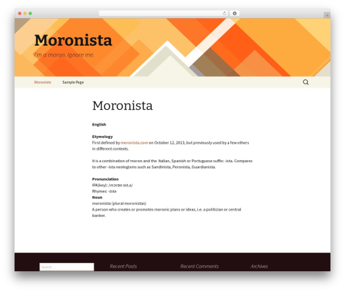 Twenty Thirteen free WP theme - moronista.com