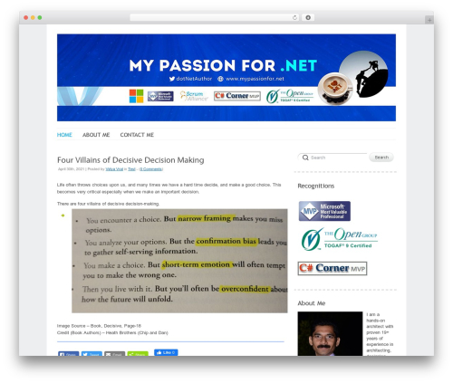 Delicate top WordPress theme - mypassionfor.net