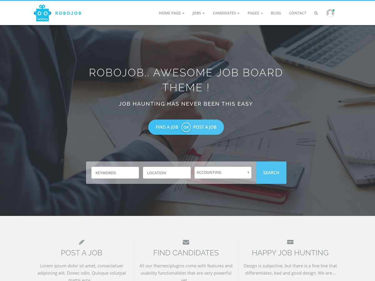Robojob Lite free WordPress theme