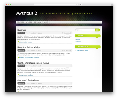 WordPress website template Mystique 2 - mystique-theme.com