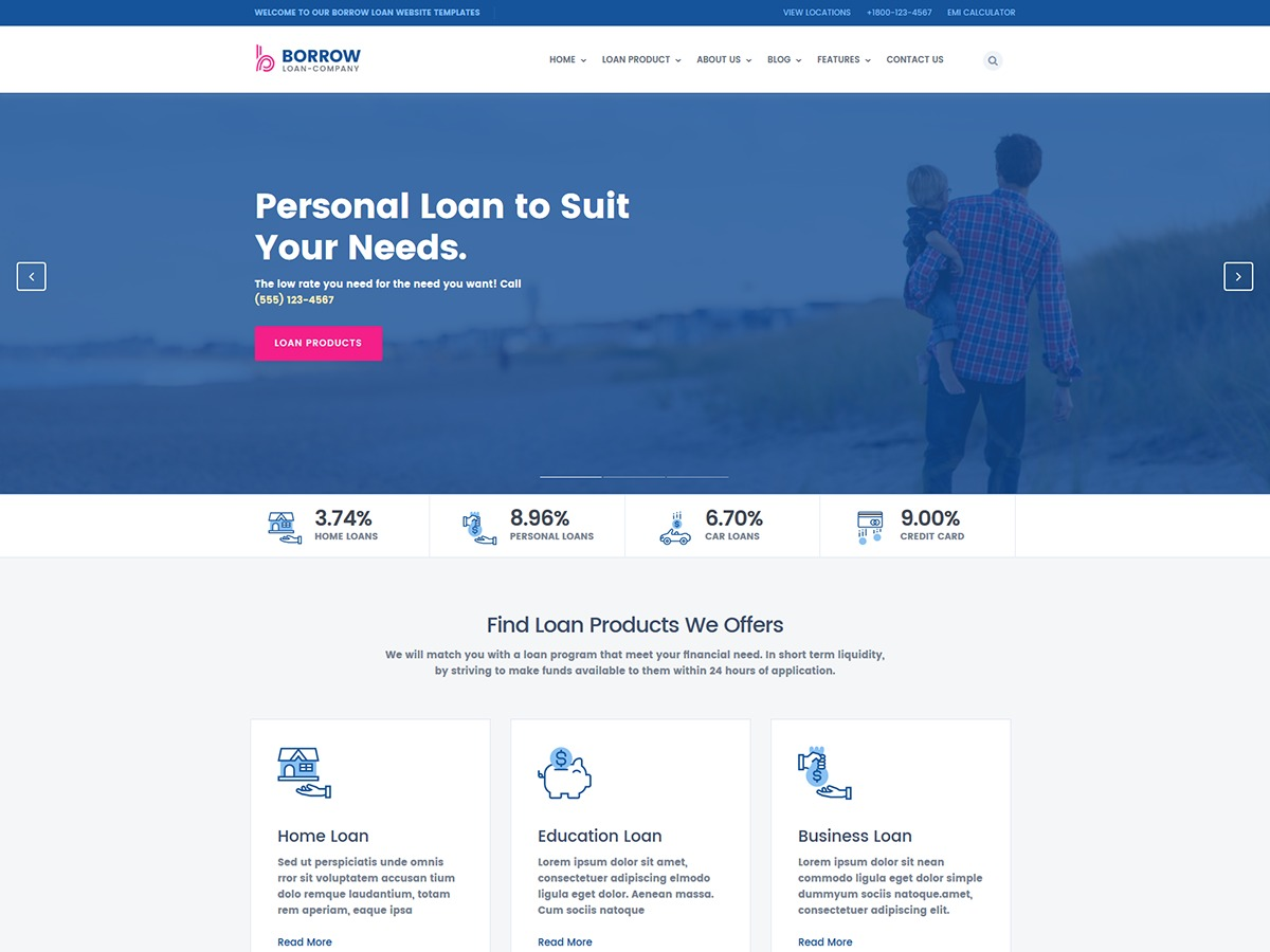 Borrow company WordPress theme