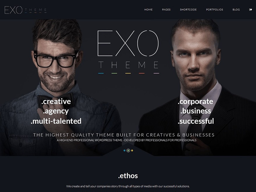 EXO Theme (shared on wplocker.com) WordPress news template