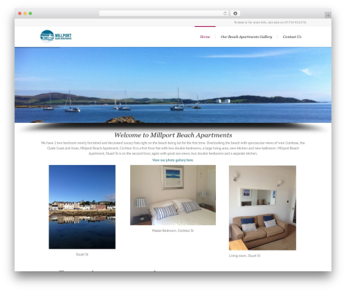 WordPress theme Lounge - millportbeachapartments.co.uk