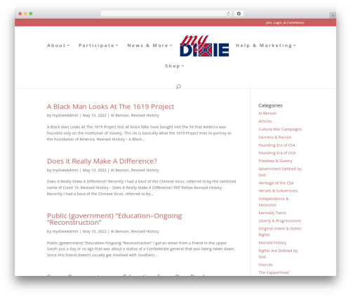 WP theme Divi - mydixie.org