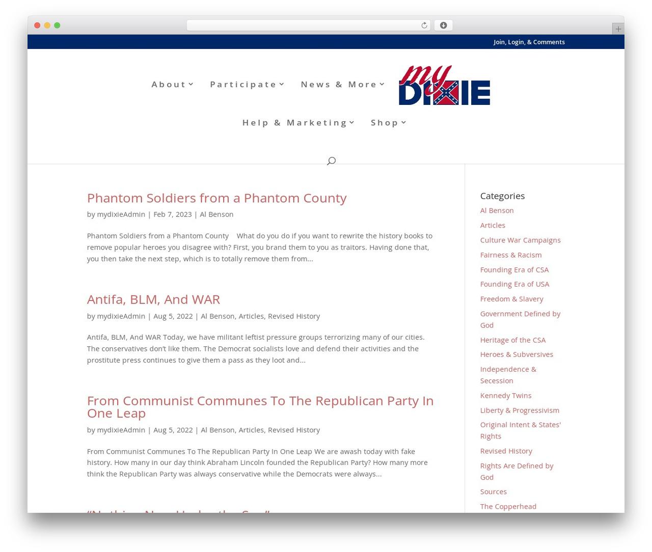 WP theme Divi - mydixie.org