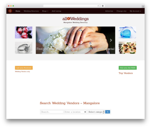 Allforwedding WordPress template - mangalore.all4weddings.in