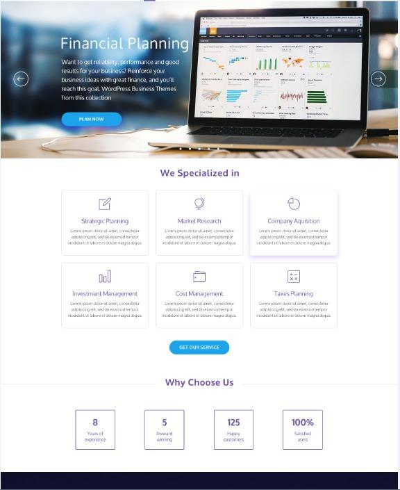 NiagaFinance company WordPress theme