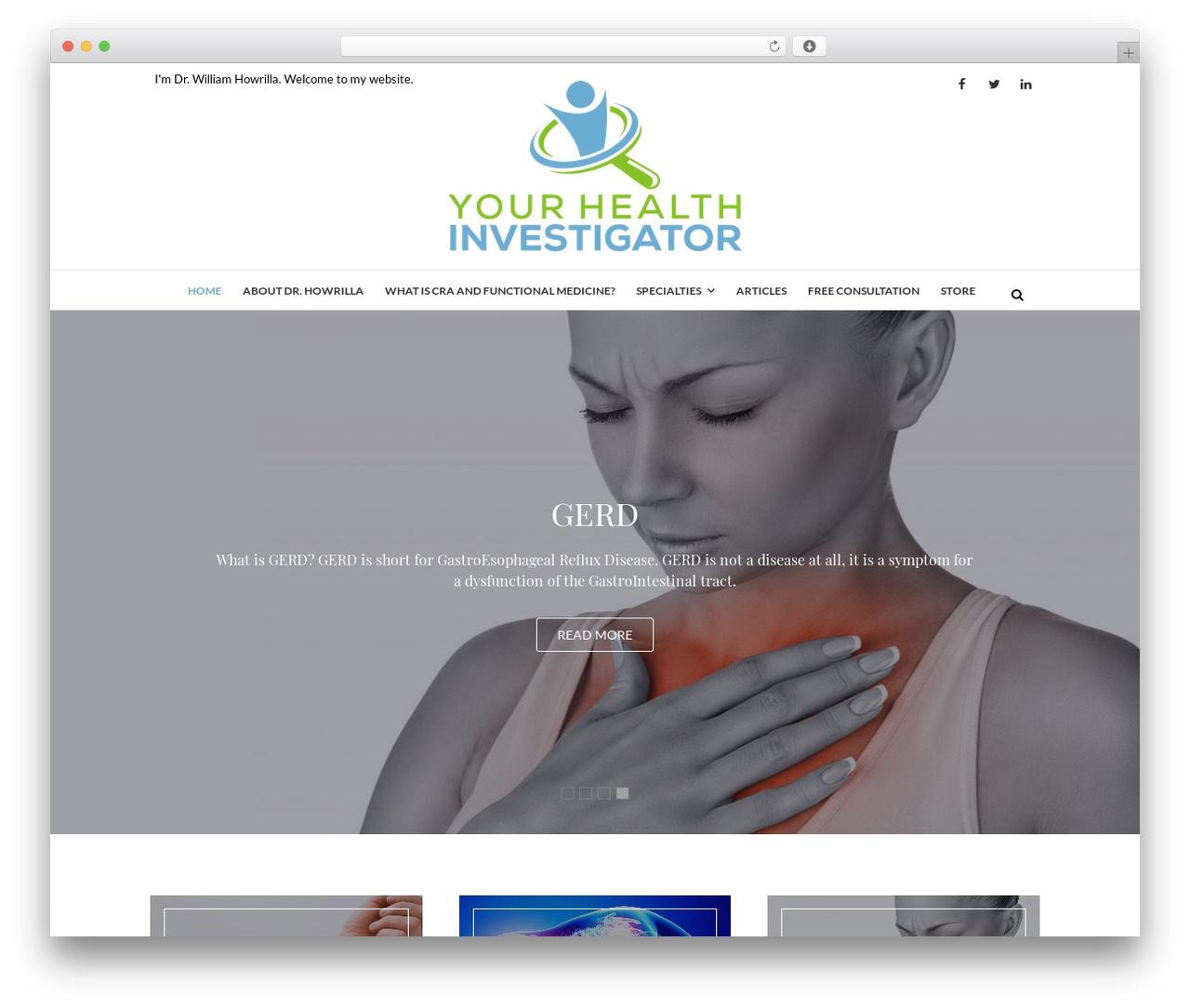 Edge free WordPress theme - yourhealthinvestigator.com