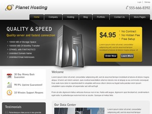Planet Hosting WordPress template for business