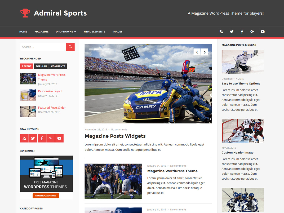 Admiral best free WordPress theme