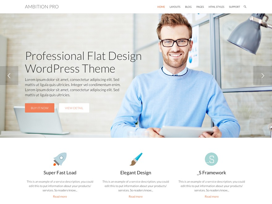 Ambition Pro WordPress shop theme