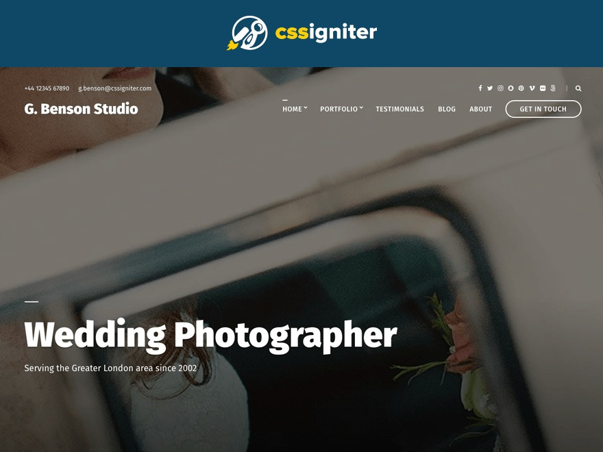 Benson WordPress template for photographers