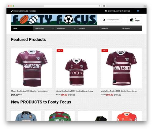 Best WordPress template WoonderShop PT - footyfocus.com.au