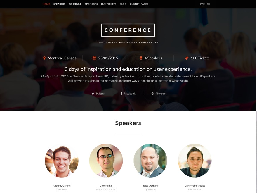 Conference Child Theme premium WordPress theme