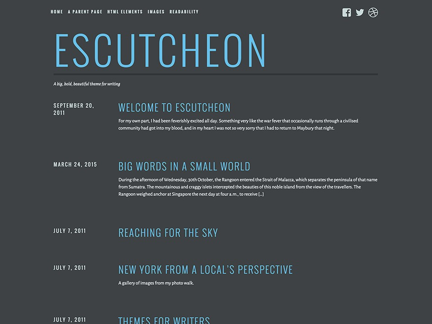 Escutcheon free WordPress theme