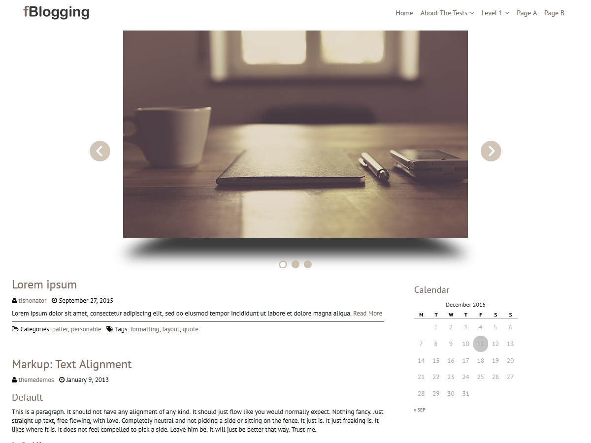 fBlogging theme WordPress free