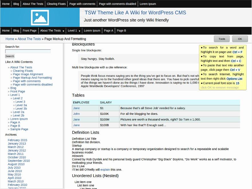 LikeAWiki free WordPress theme