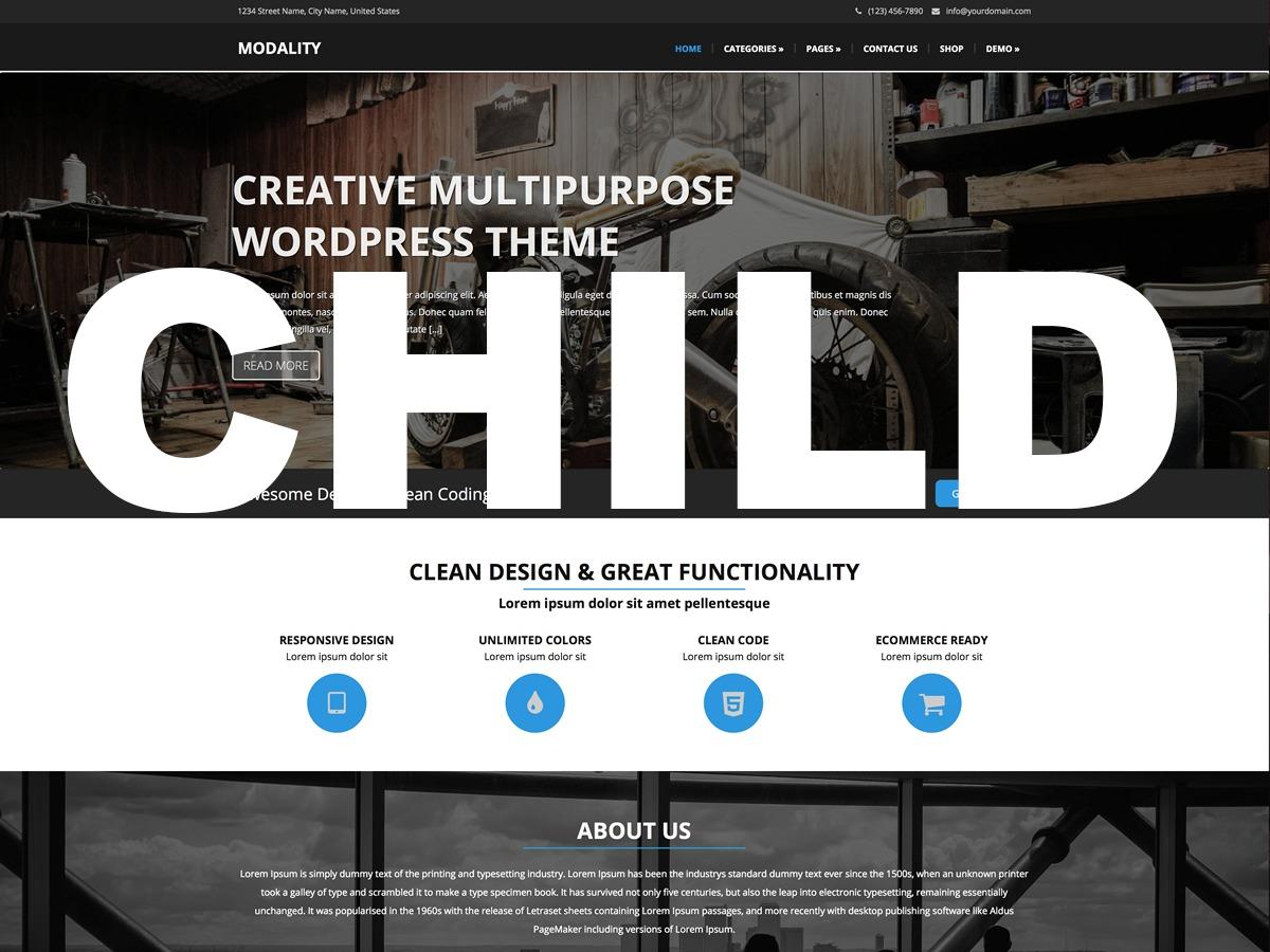 modality-child WordPress theme design