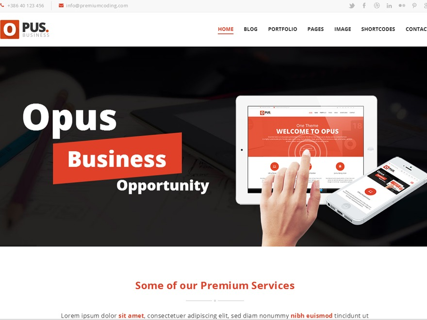 Opus - Wordpress Theme WordPress theme design