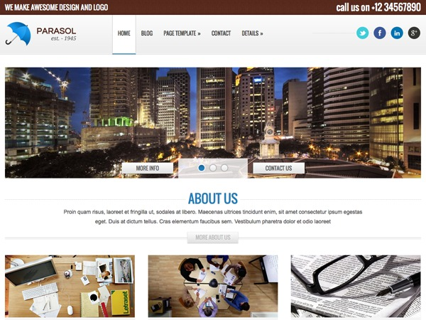 Parasol business WordPress theme