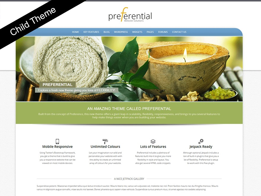 Preferential Child WordPress theme design