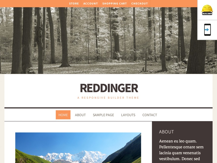 Reddinger WordPress theme design