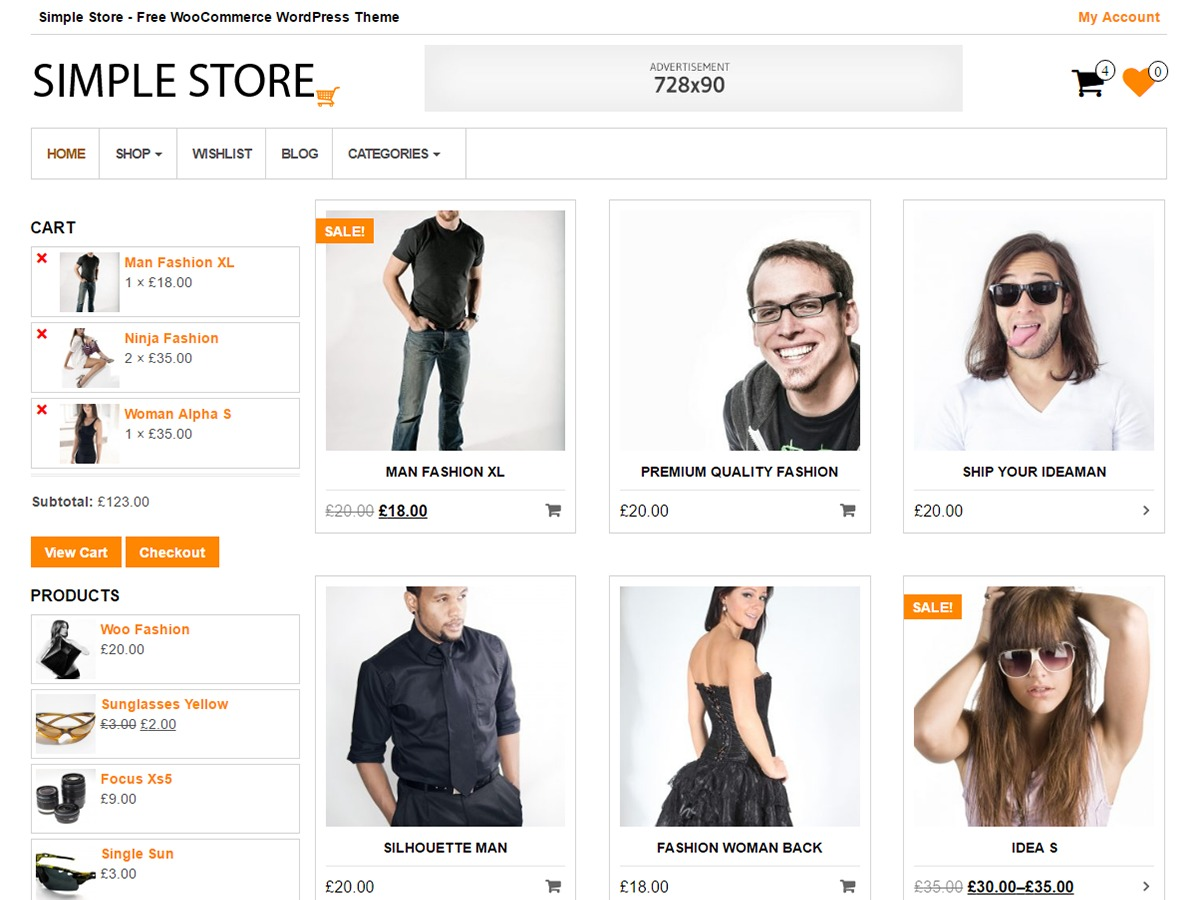 Simple Store theme WordPress free