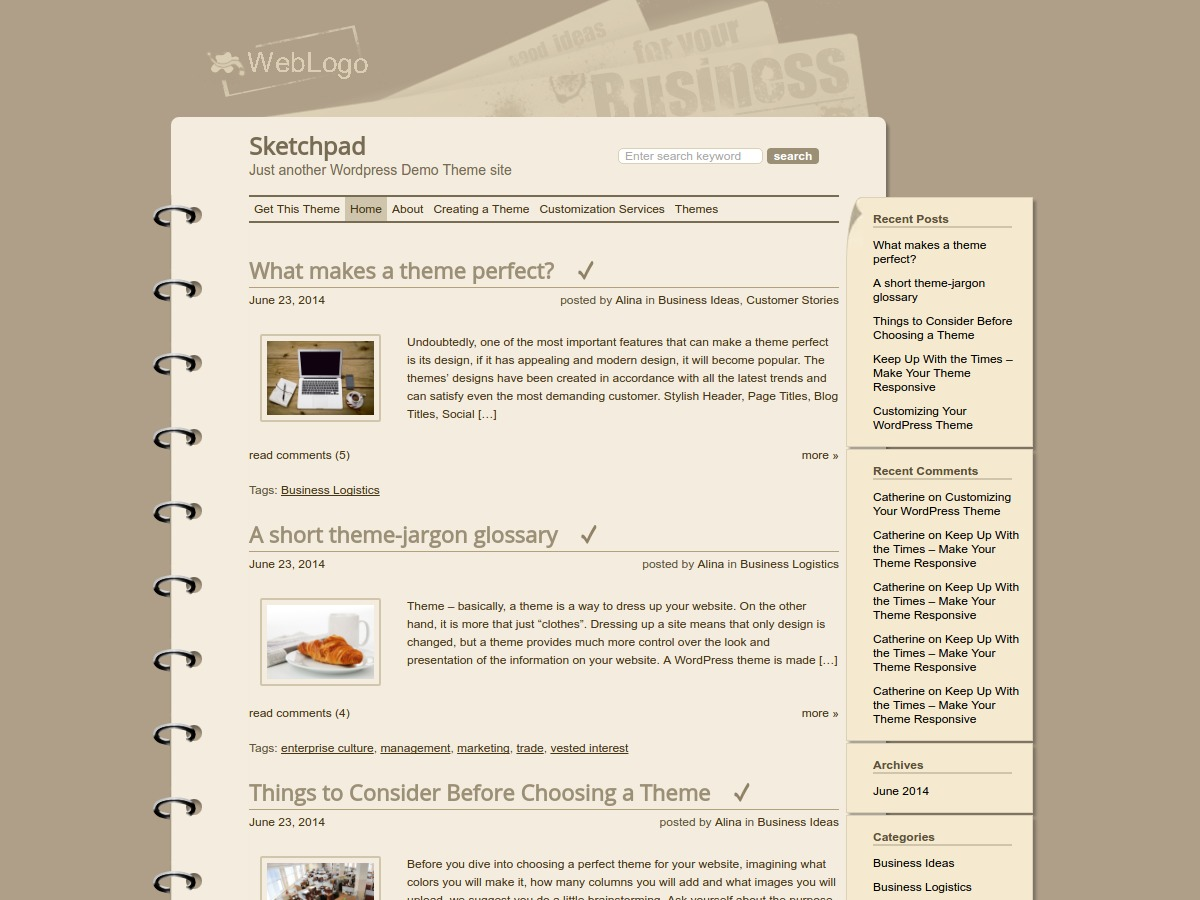 Sketchpad WordPress template free download