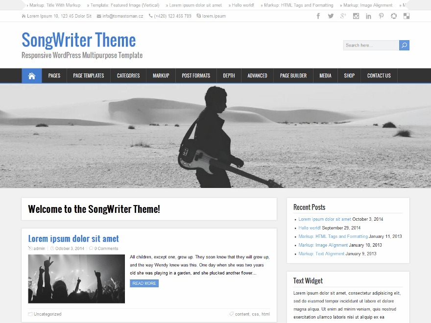 SongWriter Premium WordPress ecommerce template