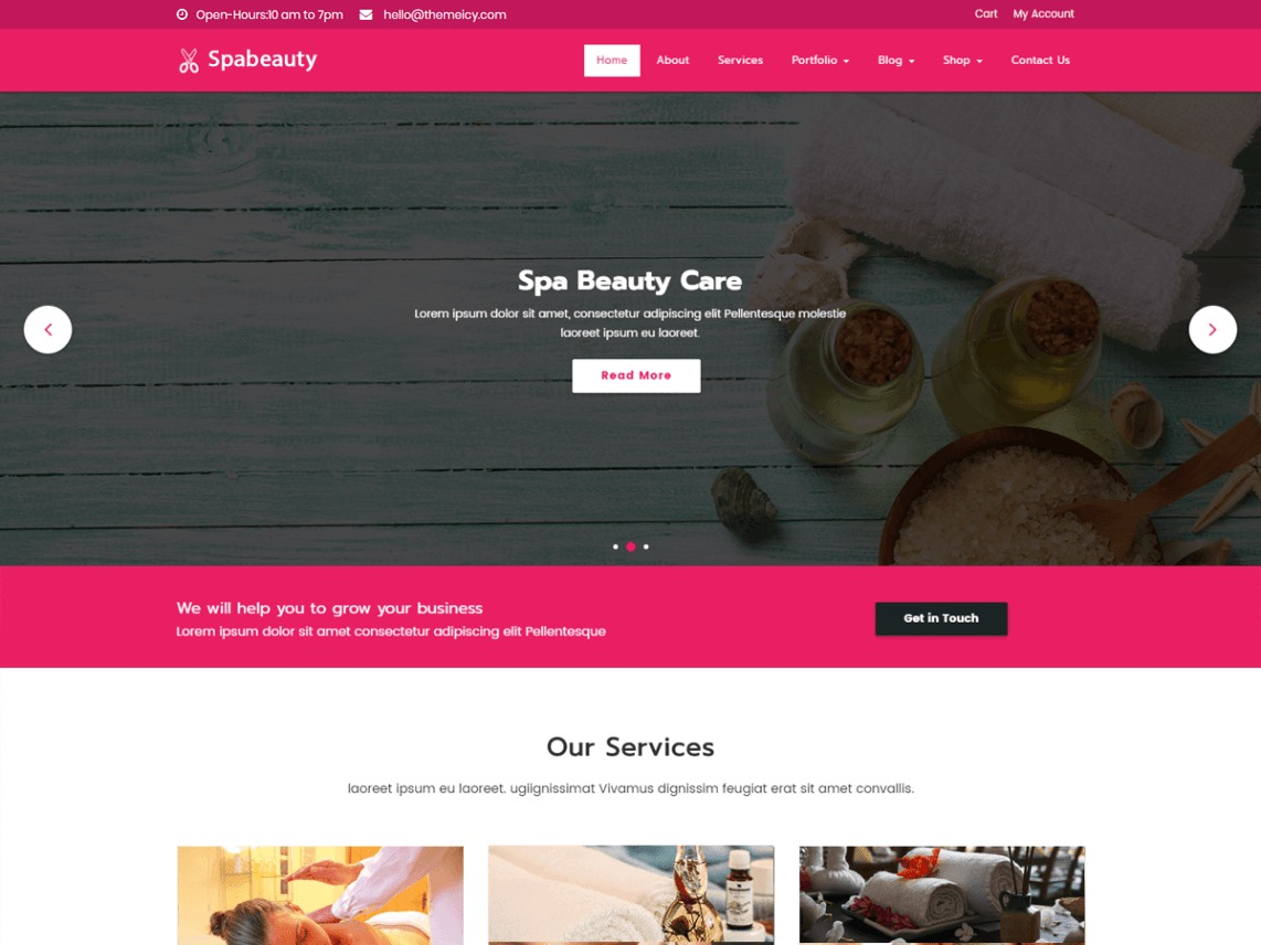 Spabeauty business WordPress theme