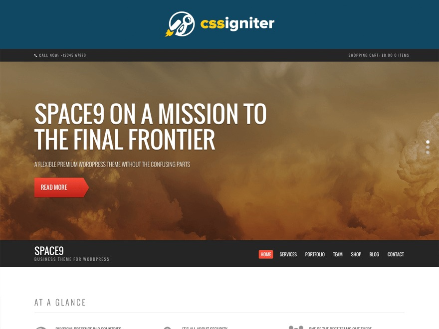 Space9 WordPress template for business