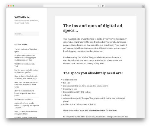 Twenty Fifteen WordPress template - wpskills.tv