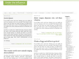WordPress template Under the Influence
