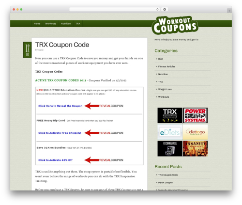 WP theme Builder - workoutcoupons.com